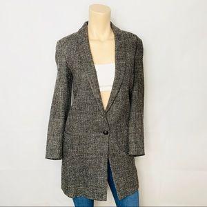MASSIMO DUTTI Tweed Coat Gray Sz L w Pockets